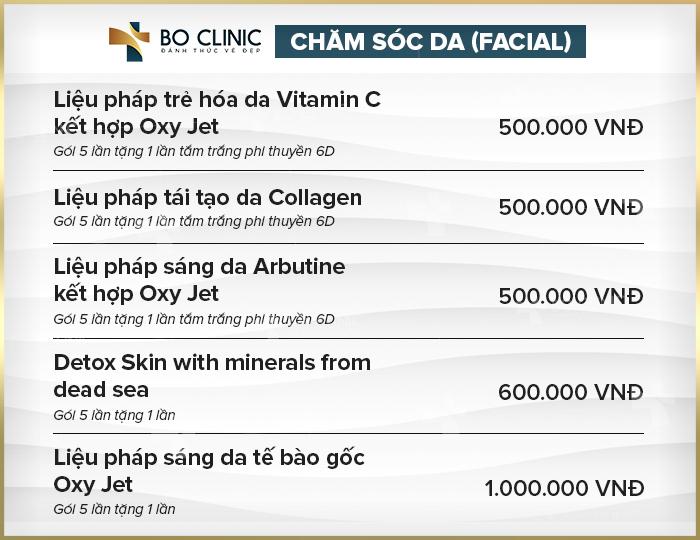 Bảng giá các liệu trình chăm sóc da mặt tạiBoClinic
