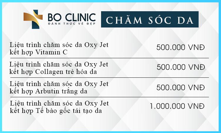 Bảng giá các liệu trình chăm sóc da tại Bo Clinic