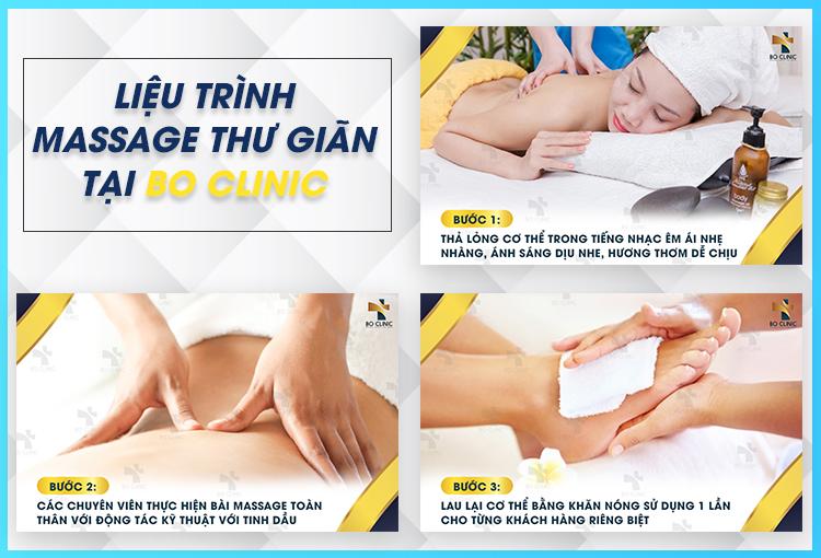 Massage thư giãn tại Bo Clinic là liệu trình massage kết hợp tác động lên các vùng huyệt cơ bản, giúp giảm căng thẳng mệt mỏi