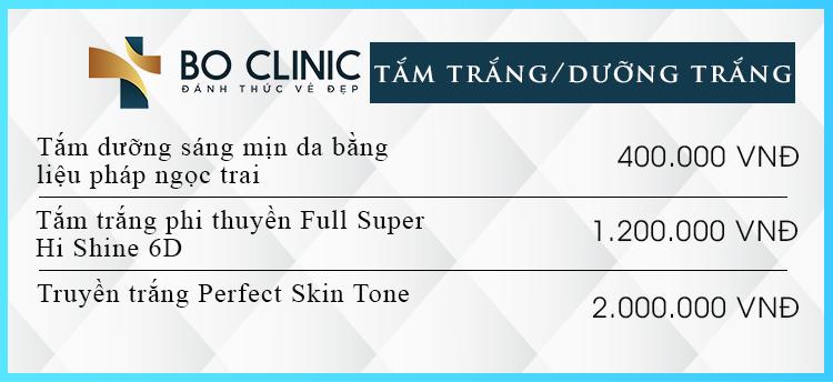 Bảng giá các liệu trình tắm trắng dưỡng da tại Bo Clinic