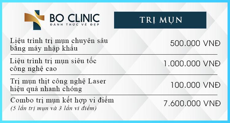 Bảng giá các dịch vụ trị mụn tại Bo Clinic