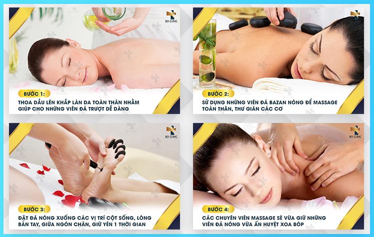 Liệu trình massage đá nóng tại Bo Clinic kết hợp cùng không gian yên tĩnh giúp khách hàng cảm thấy thư thái, dễ chịu