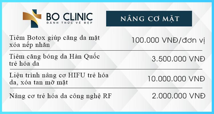 Bảng giá các liệu trình giúp nâng cơ, thon gọn mặt tại Bo Clinic