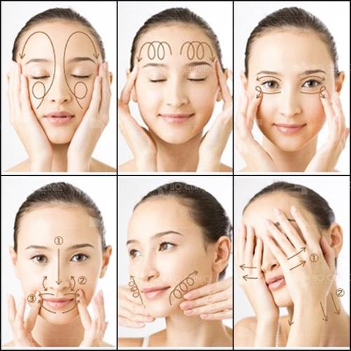 Thực hiện đúng từng thao tác massage mặt vừa là cách trị mụn cám tại nhà hiệu quả, vừa làm săn chắc da