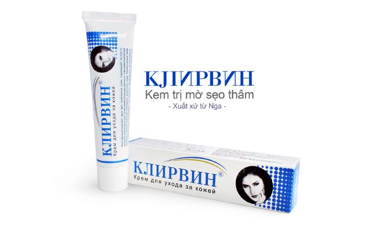 Kem trị sẹo Nga hiệu Klirvin có chiết xuất từ 11 loại thảo mộc Ấn Độ có tác dụng trị sẹo lồi, làm mờ sẹo thâm được bán tại Bo Shop chỉ 40.000đ