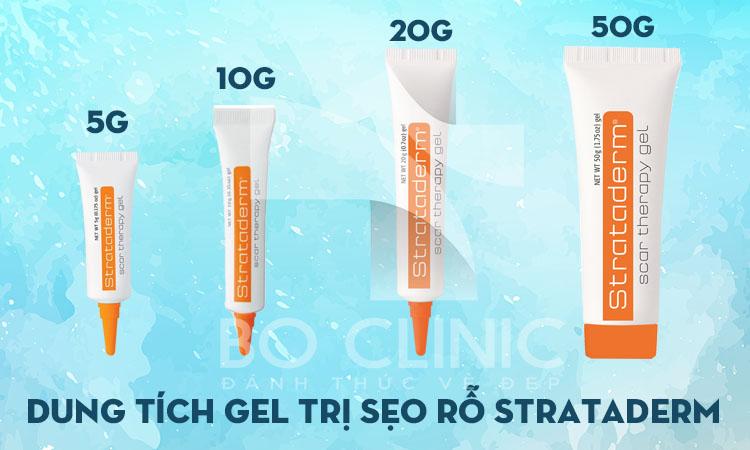 Gel trị sẹo rỗ Strataderm có 4 dung lích là 5g, 10g, 20g và 50g phù hợp với những loại sẹo khác nhau