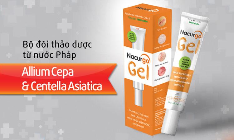Gel trị sẹo Nacurgo ức chế sự hình thành và hoạt động của melanin nên có tác dụng làm giảm thâm sẹo, sẹo do mụn để lại, làm sáng da